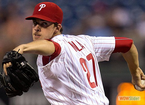 Aaron Nola gave up 5 runs in 4.1 innings, but the Phillies beat the Braves 6-5 on Saturday/